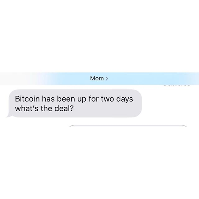 Welp. My mom is back to asking about #bitcoin! Bullish or bearish guys? 🤔 ——————————————————————————— #neo #btc #eth #ltc #xrp #bch #bitcoin #litecoin #ethereum #ripple #bitcoincash #cryptocurrencies #cryptocurrency #cryptocandor #cryptonews  #crypto #cryptocurrencynews #decentralize