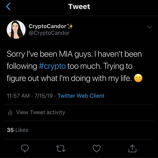Haven't been making content bc I haven't really had the motivation. And I'm trying to figure out what I want to do w my career. I apologize for being MIA. Also not sure when I'll return. Thanks for the love everyone. 🙁 ——————————————————————————— #neo #btc #eth #ltc #xrp #bch #bitcoin #litecoin #ethereum #ripple #bitcoincash #cryptocurrencies #cryptocurrency #cryptocandor #cryptonews  #crypto #cryptocurrencynews #decentralize
