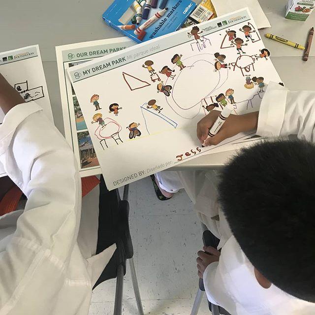 Future designers hard at work at the #HealthyParksPlan community workshop at Montopolis Rec Center.