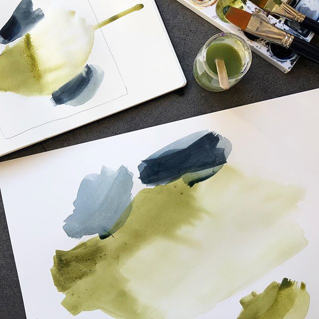 Olive Green and Payne's Gray 🥰 ••••••••••••••••••••••••••••••••••••••••••• #pauladolz #abstract #art #abstractart #abstractartist #watercolor #abstractogram #artwork #workinprogess #artinprogress #process #arte #abstracto