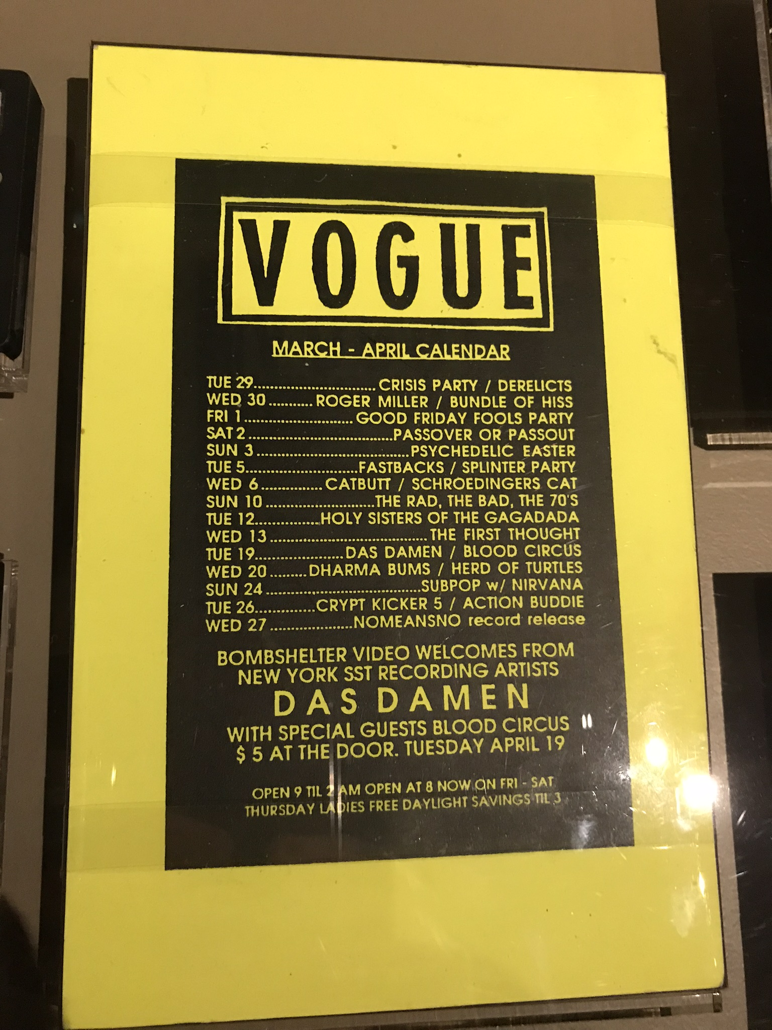 Concert flyer for the Vogue, March-April, 1988 (where Nirvana played their second ever show in Seattle).