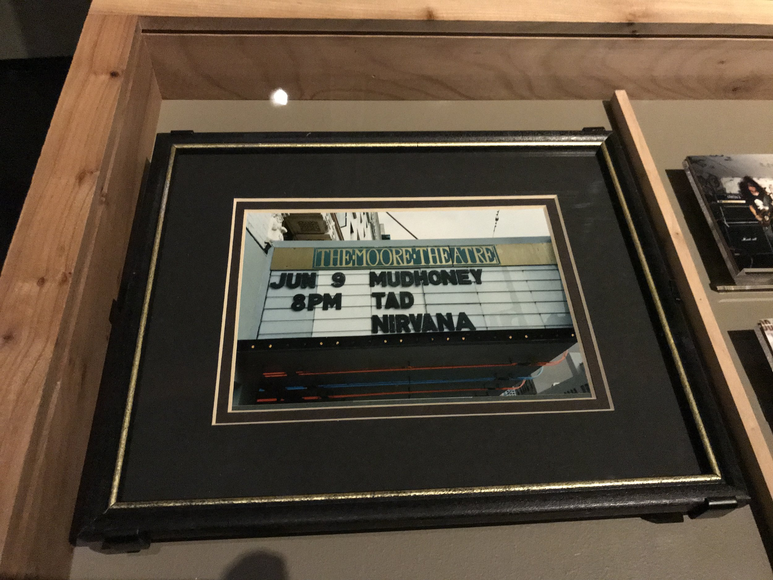 The Moore Theatre marquee for Sub Pop's Lamefest, 1989. Sold out (1400 tickets), shocking everyone. Including the Moore's security staff (sent home early for the night).