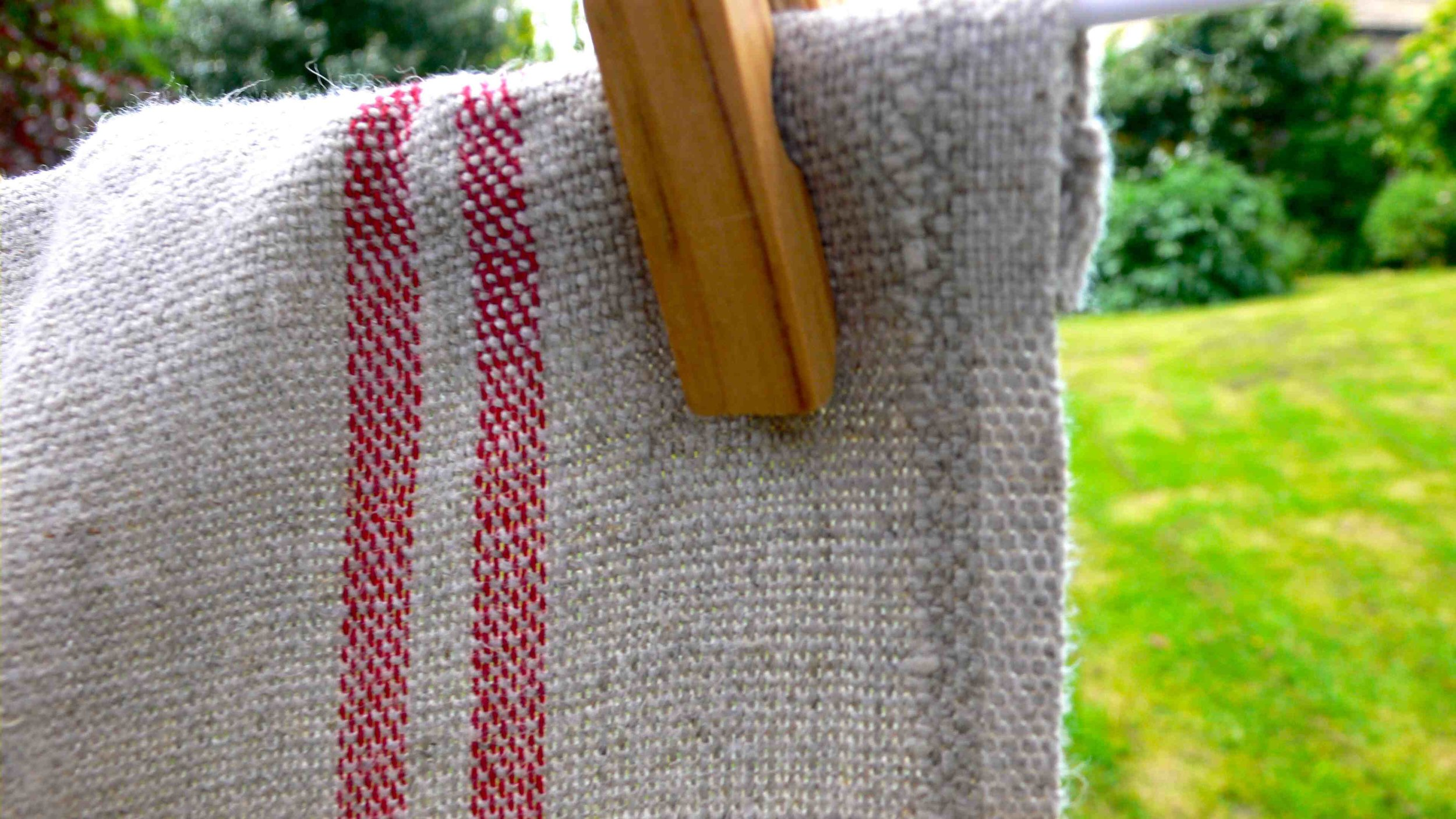 Red stripe French linen tea towel