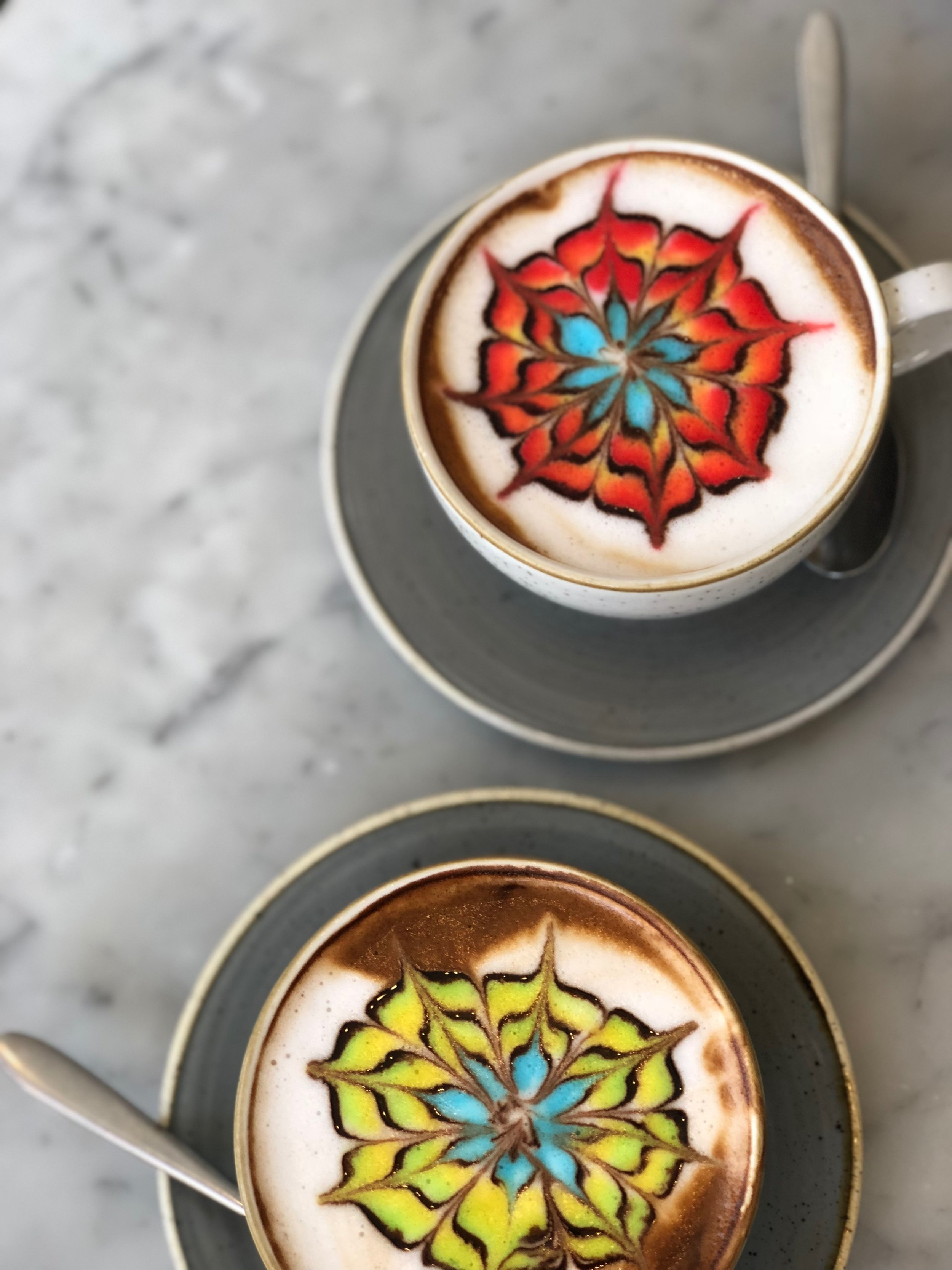 The best part is that these beautiful babies taste as delicious as they look. - If you're in need of a major caffeine hit, stick with a cold brew for that proper slap in the face but if your at all a latte lover, the Colorburst is certainly worth a try. We opted for almond milk, but you can also go with whole or non-fat.