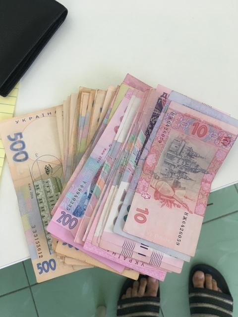 $600 in Ukrainian cash.