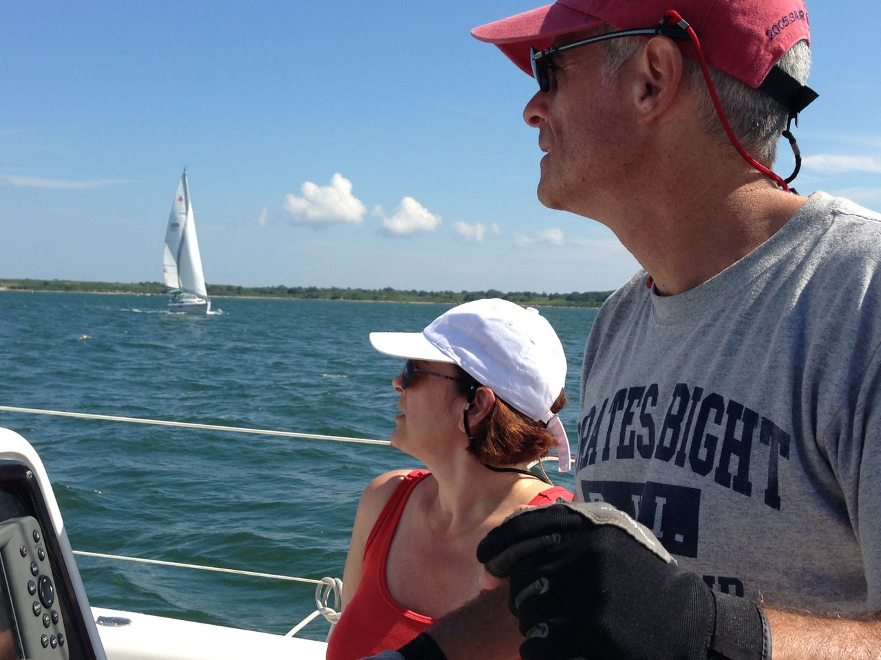 Sailing in Boston Harbor with my husband