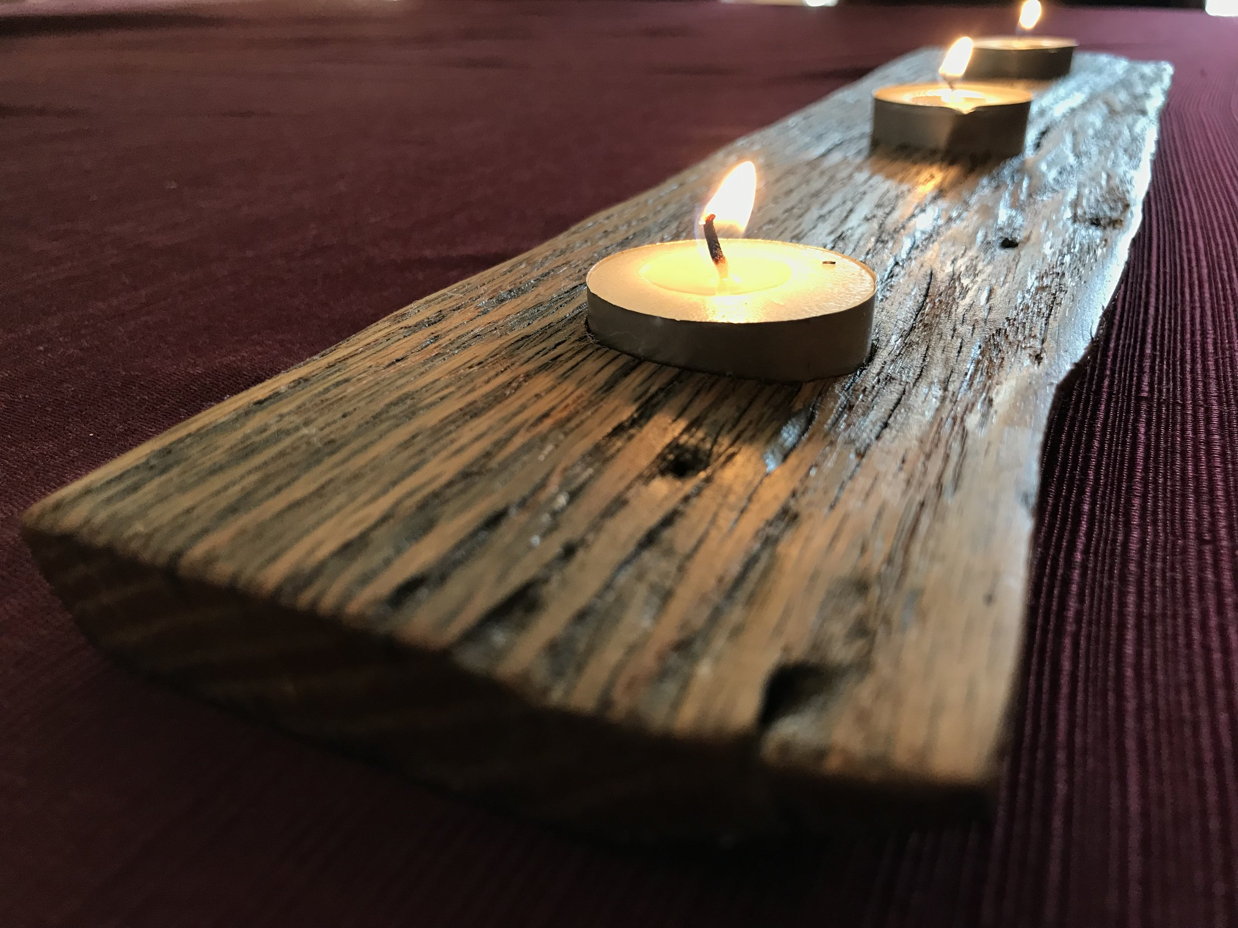 Used barn wood candle holder created with scrap wood
