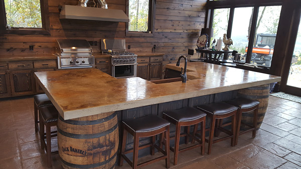 Rich colored reclaimed barn wood accent wall applied in the kitchen