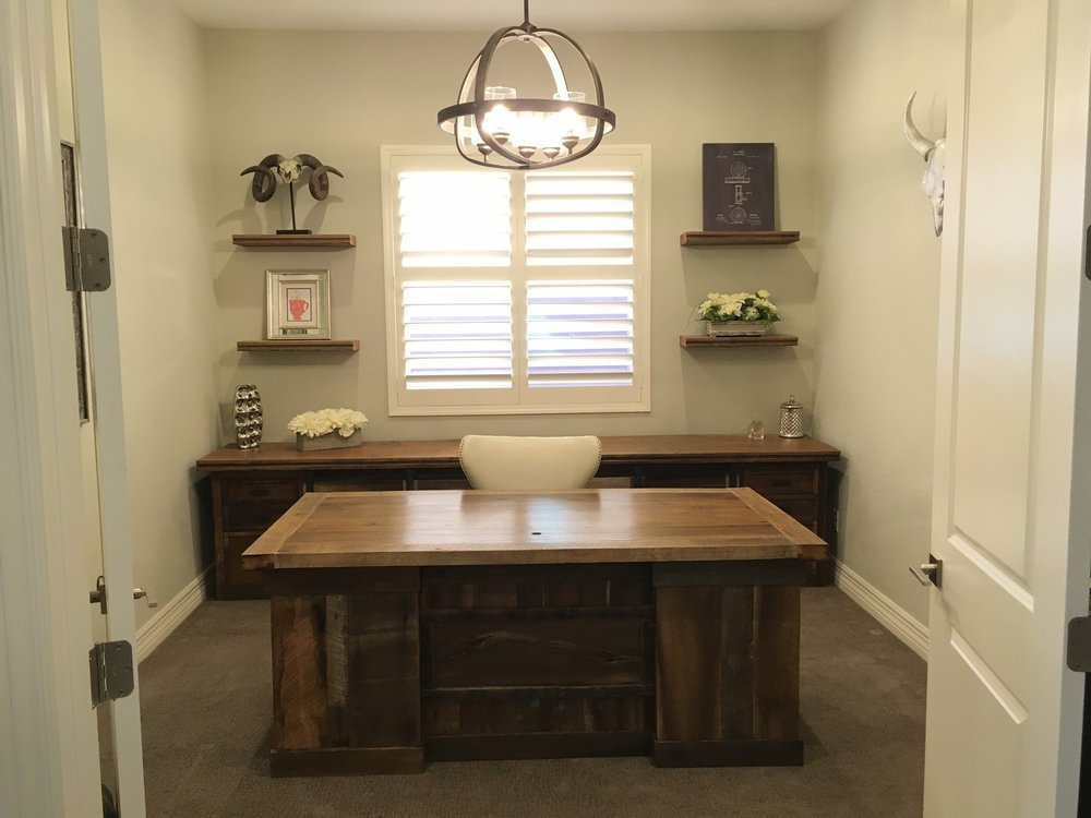 Repurposed barn wood desk