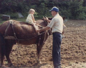 Me, Papaw, and Pete the Mule, 1989ish
