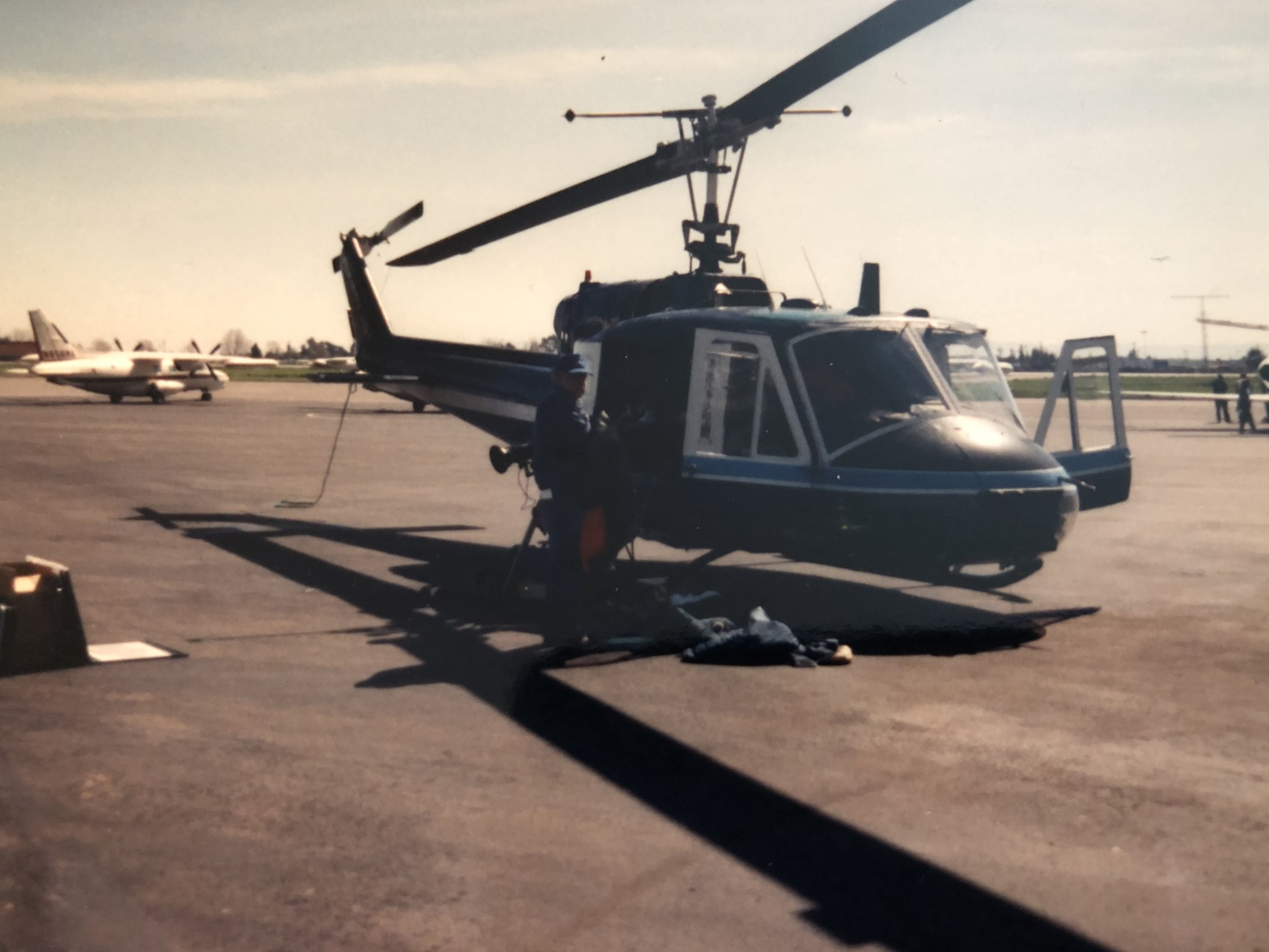 This is the Huey we use for our first aerial HD shoot.  You can see the camera sticking out the side door