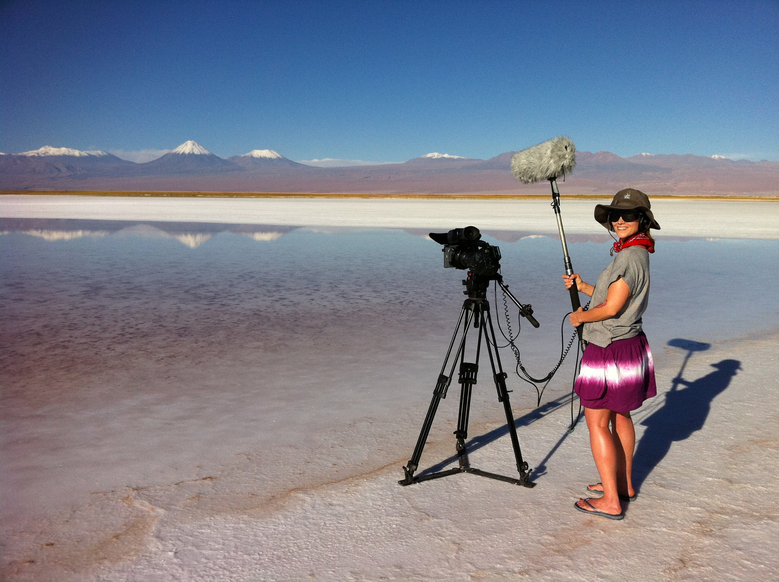 Jo enjoying the serenity of the Atacama, and it is hot at the bottom.