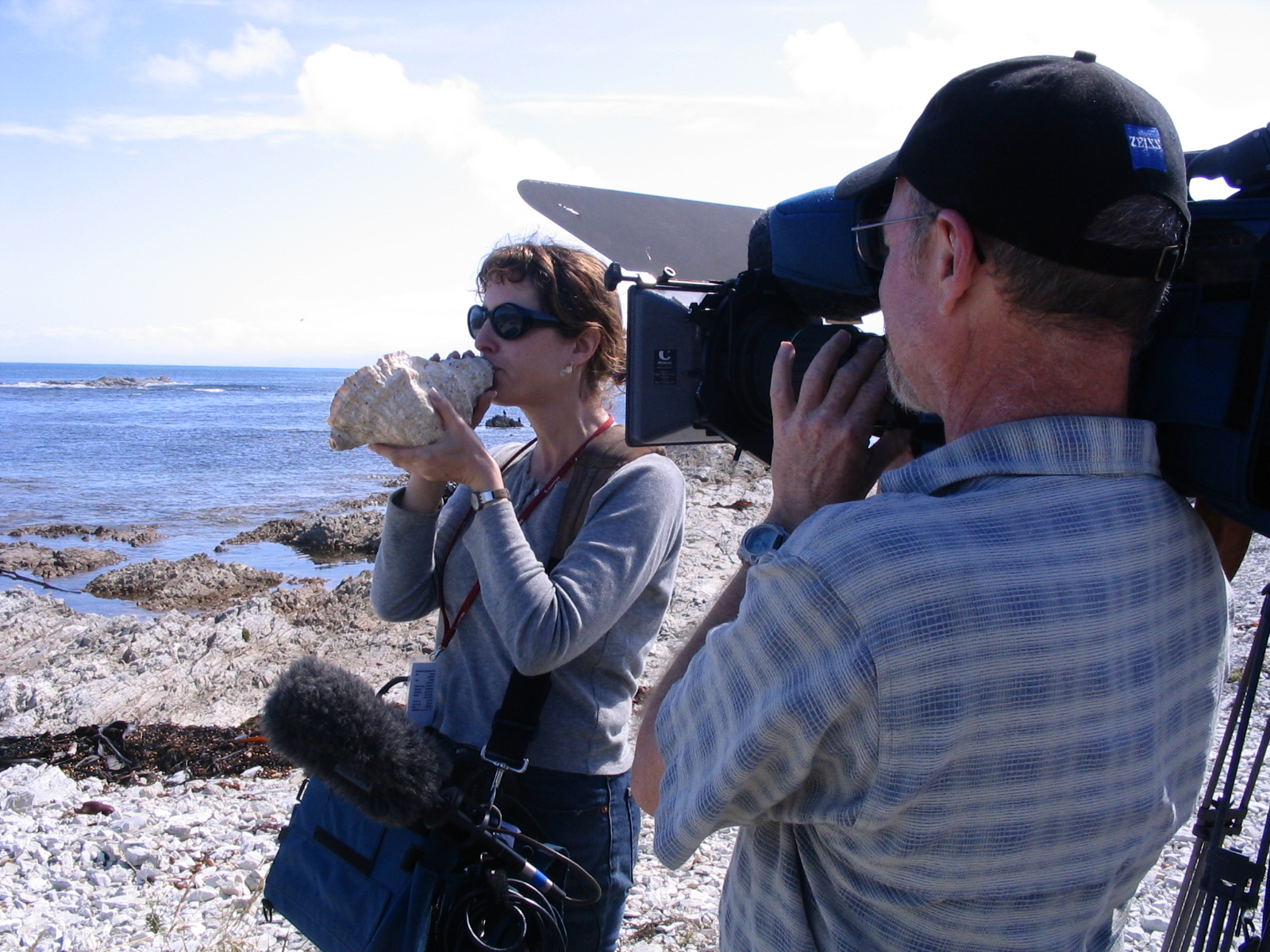 Sigal tries out the conch shell