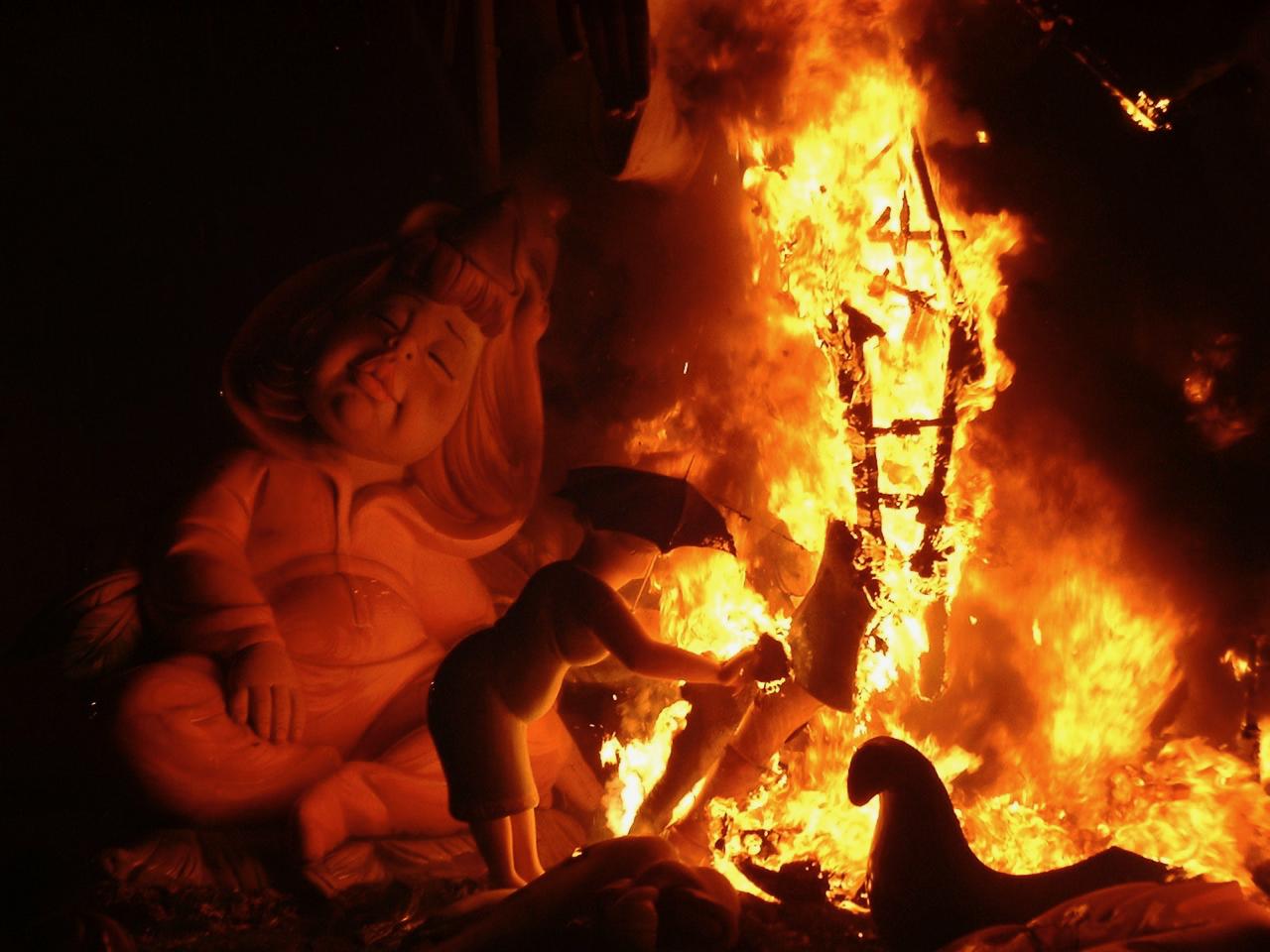 Las Fallas burning in Valencia, Spain