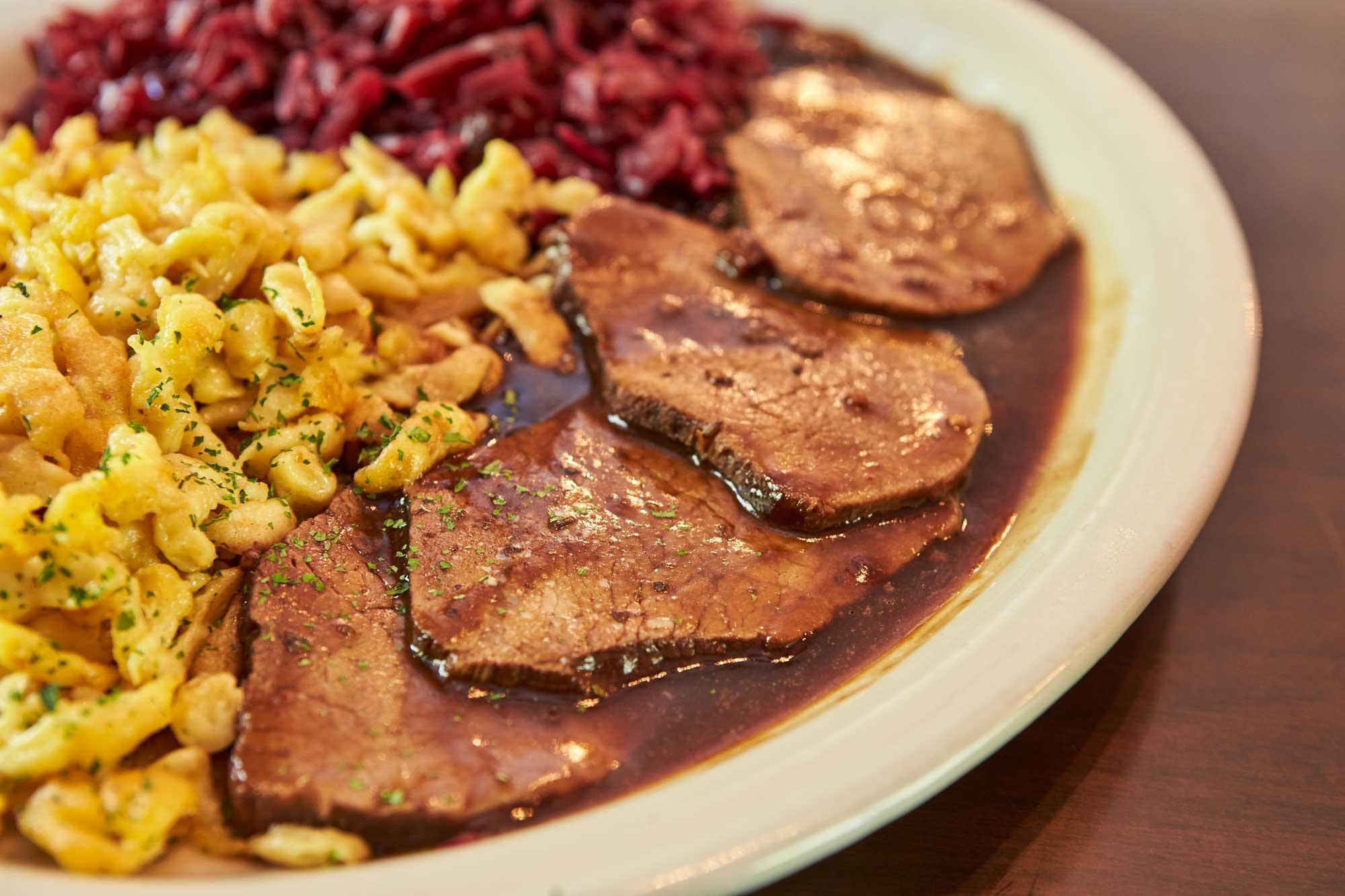 Heidelberg German Restaurant Food Menu Spaetzle Red Cabbage Sauerbraten