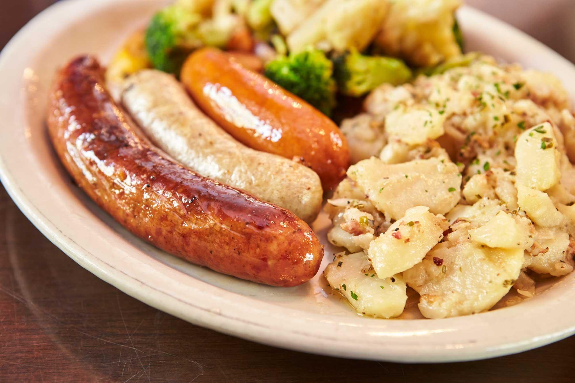 Heidelberg German Restaurant Food Menu Bratwurst Sausage Potato Salad
