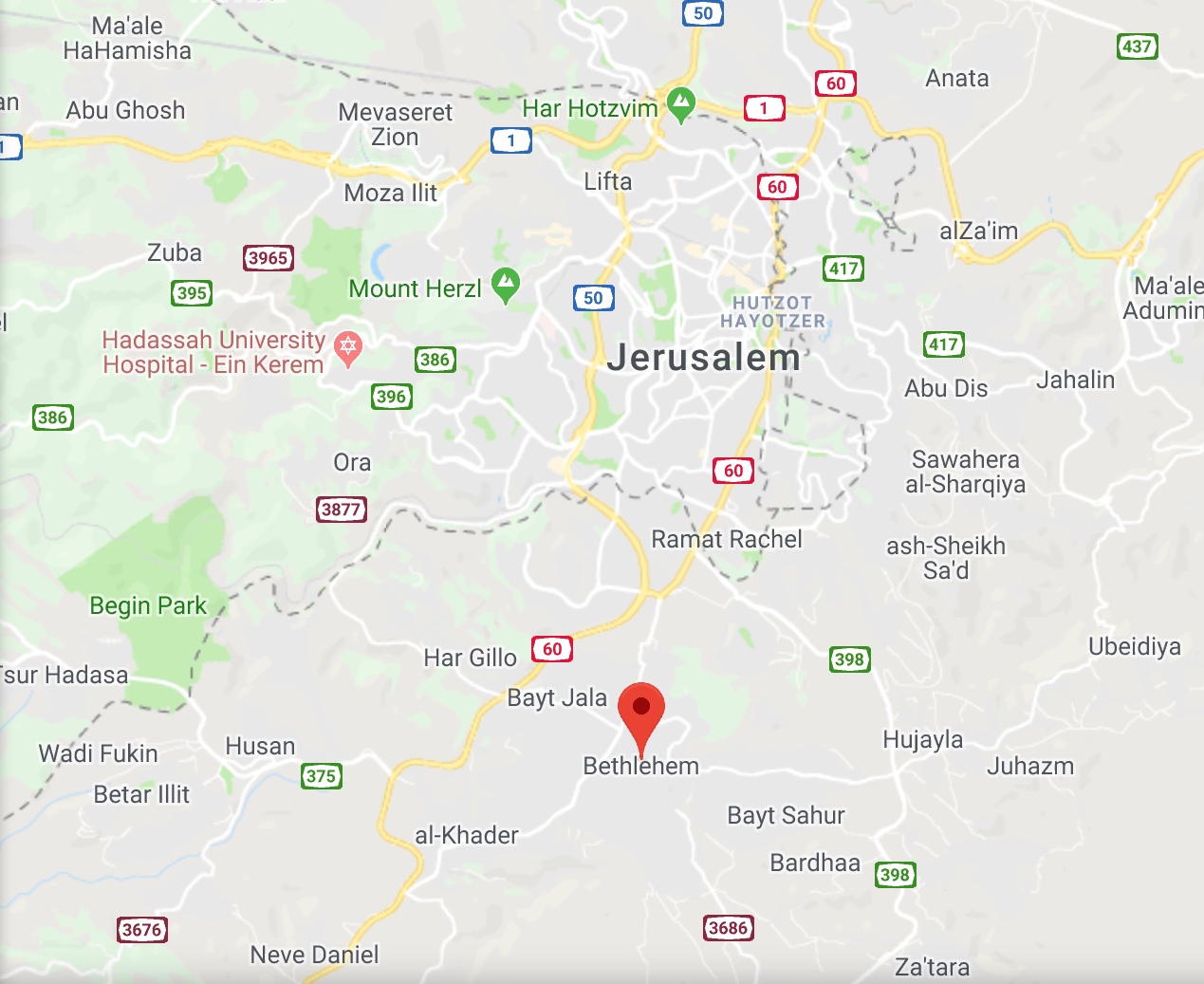 Google Map of Jerusalem and surrounding area, including Bethlehem, a 30 minute drive South.