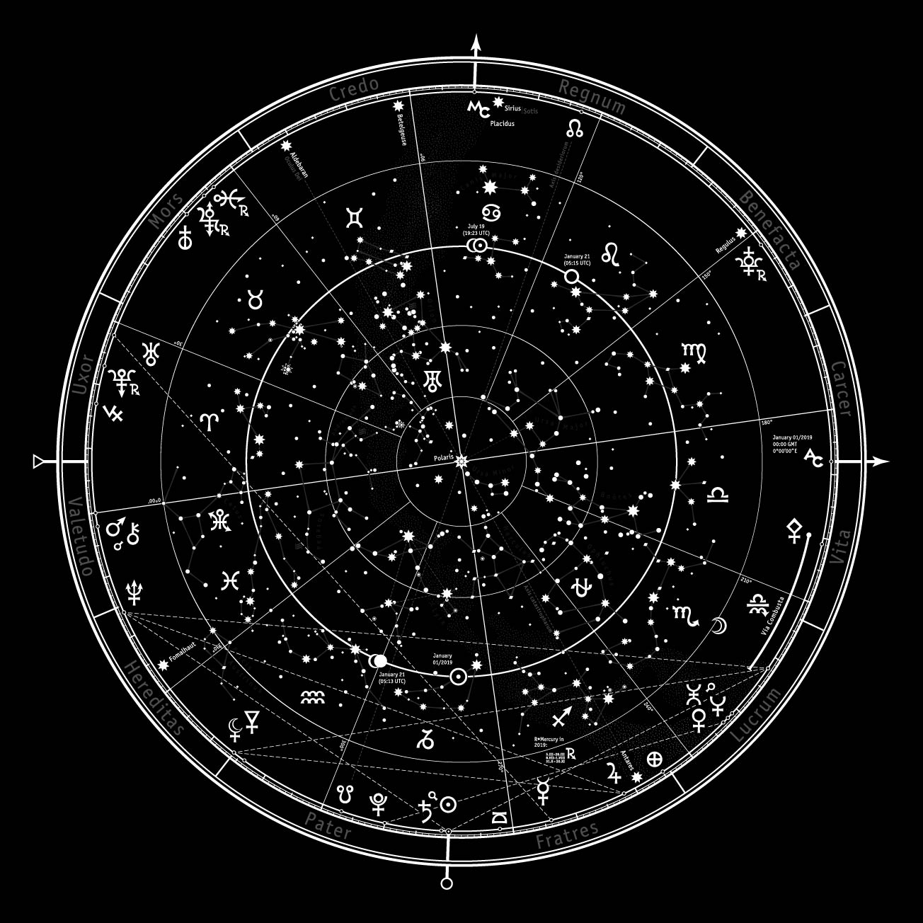 Astrological Celestial map of Northern Hemisphere Horoscope on January 1, 2019. Detailed outline chart with symbols and signs of Zodiac, planets, asteroids, etc. by MysticaLink.