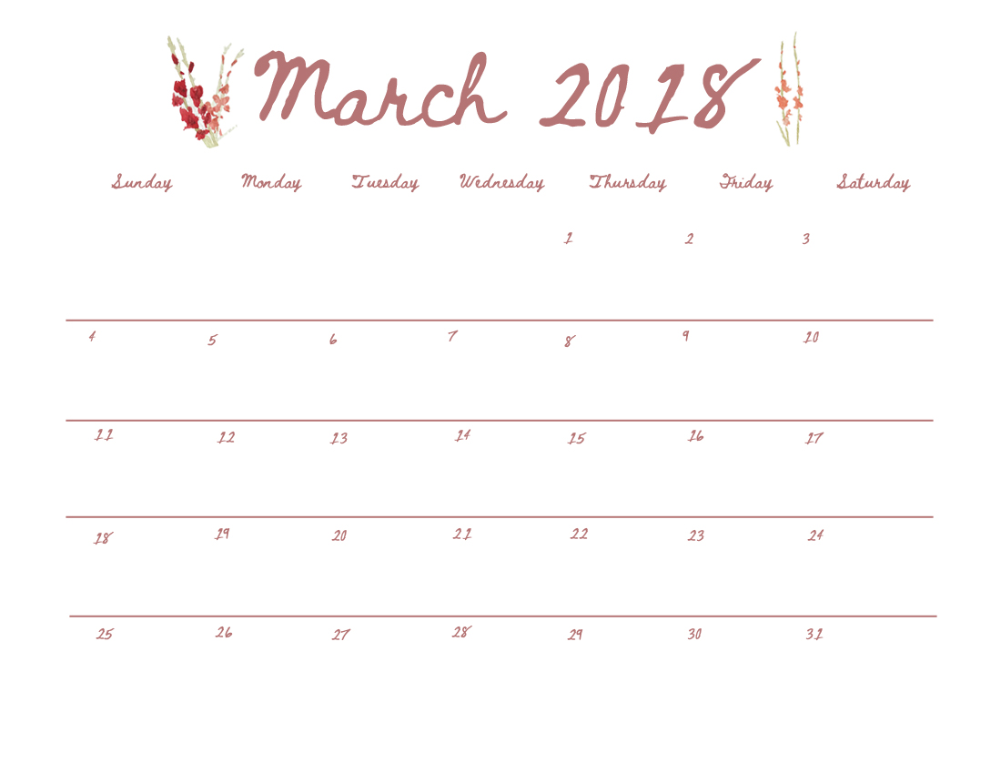 March 2018 Calendar - Click the button below to view full-size, then save or print from your browser.