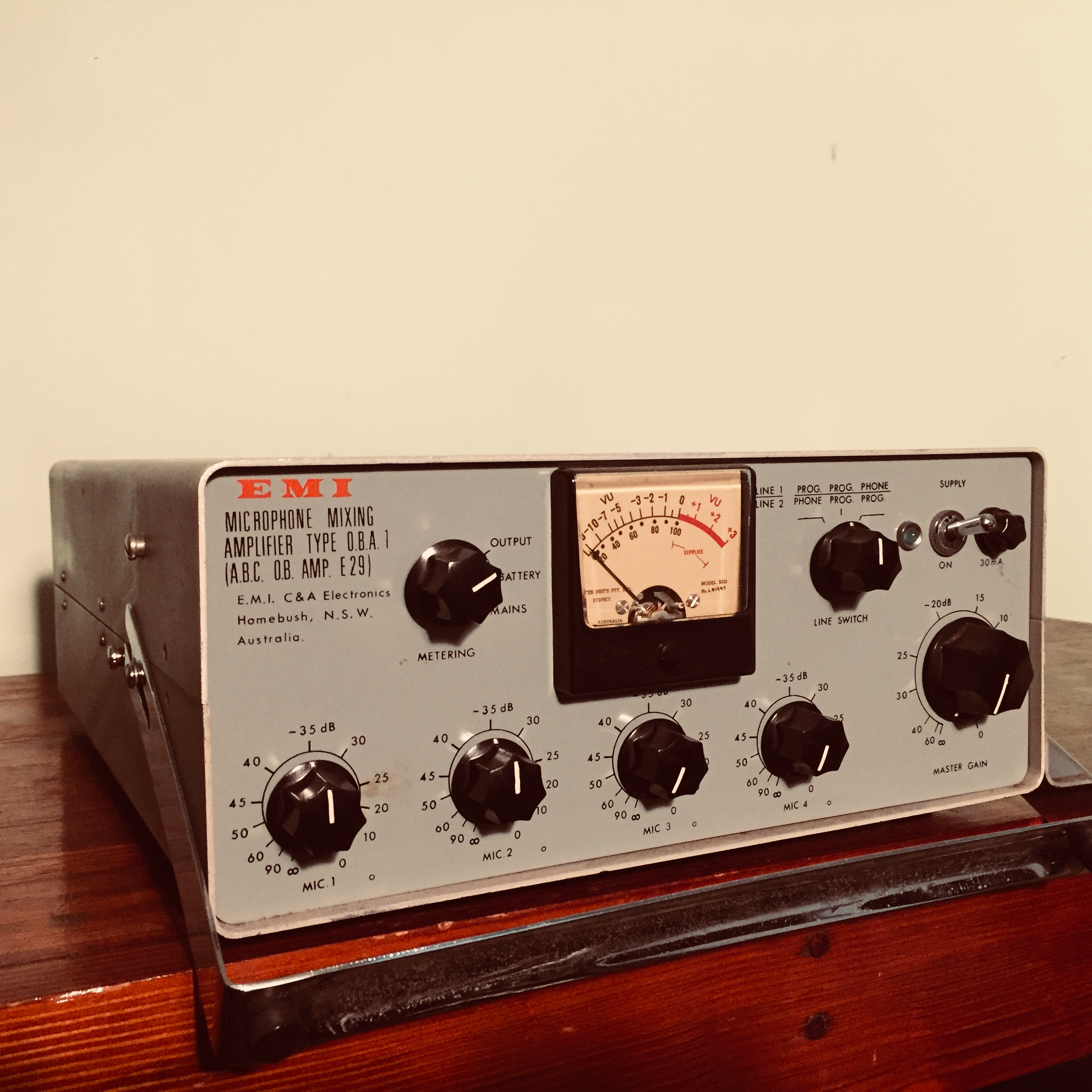 EMI O.B.A.1 - This is a 4-channel microphone preamp dating from around the late 60's / early 70's I would guess. Interestingly, it was build right here in Sydney - Homebush to be exact. In fact, I am always driving past it's birthplace - the big Kennards at the end of the M4 motorway used to be the EMI pressing plant and factory. I can remember as a kid driving past when it was a big white building with the giant blue