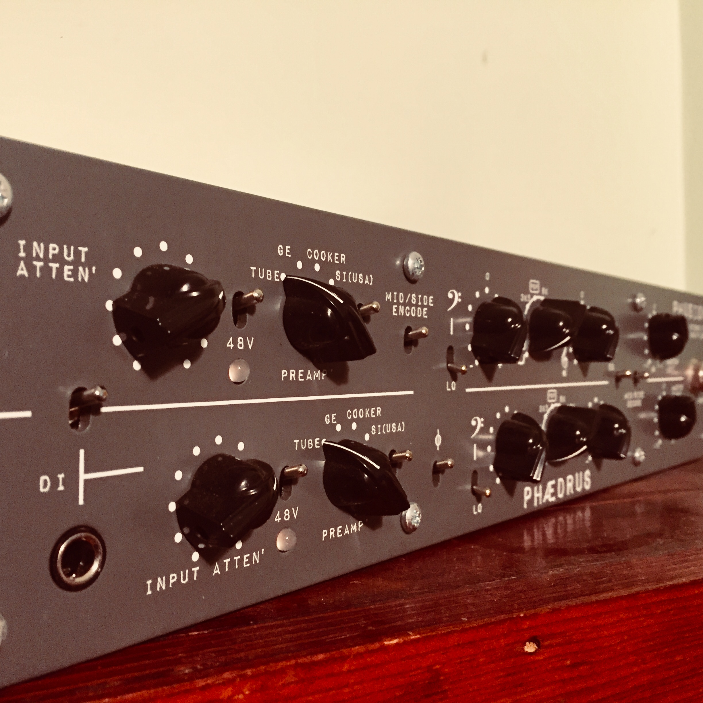Phaedrus Phusion - Well, here is a more recent acquisition that I'm still kinda in the honeymoon period with. It's super useful, like wow. It's a 2-channel mic/line preamp with EQ but wait, what's this? Each channel has 4 different mic pre's to choose from, each from classic consoles / hardware from the past. The