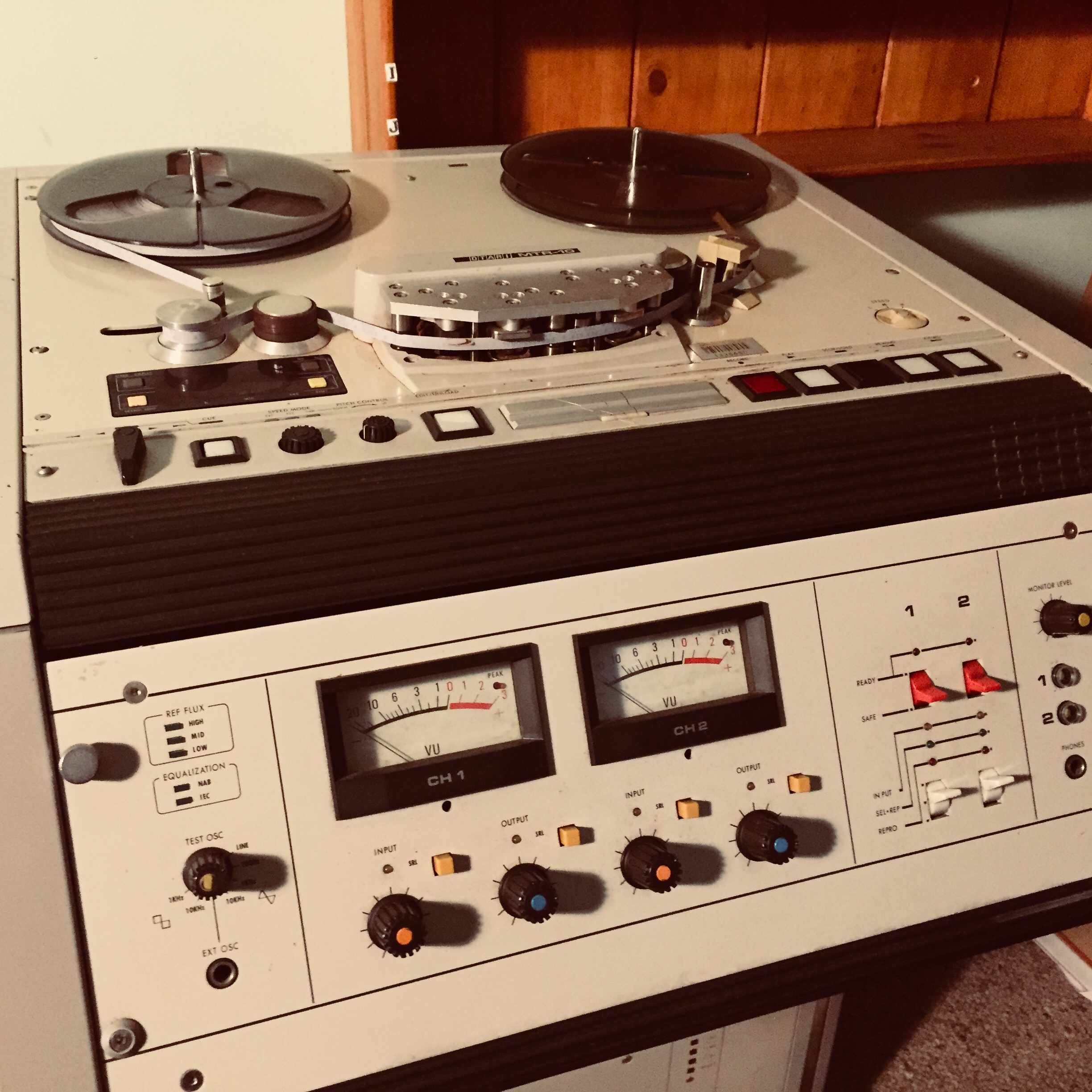 Otari MTR-10 - This is an old ex-ABC unit that I picked up nearly 10 years ago and since then it has been a work horse. In the past I used to mix down onto this machine, but I find it's real enduring strength is as a tape echo. I mean, it just sounds incredible.So during mix time, I will use this to slam tracks down on to for some of that tape sound, then often use it in real time as an effects send from the console for that aforementioned, magical tape echo. I really went crazy with this when mixing Bliss Release by Cloud Control and Crystal Theatre by Belles Will Ring.