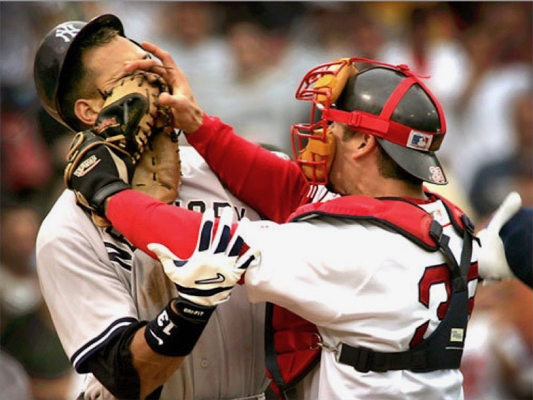 "Alex Rodriguez (left) and Jason Varitek scuffled on July 24, 2004, after the Dropkick Murphys played ""Tessie"" live at Fenway for the first time. Bill Mueller's two-run home run in the bottom of the ninth gave Boston an 11-10 win."
