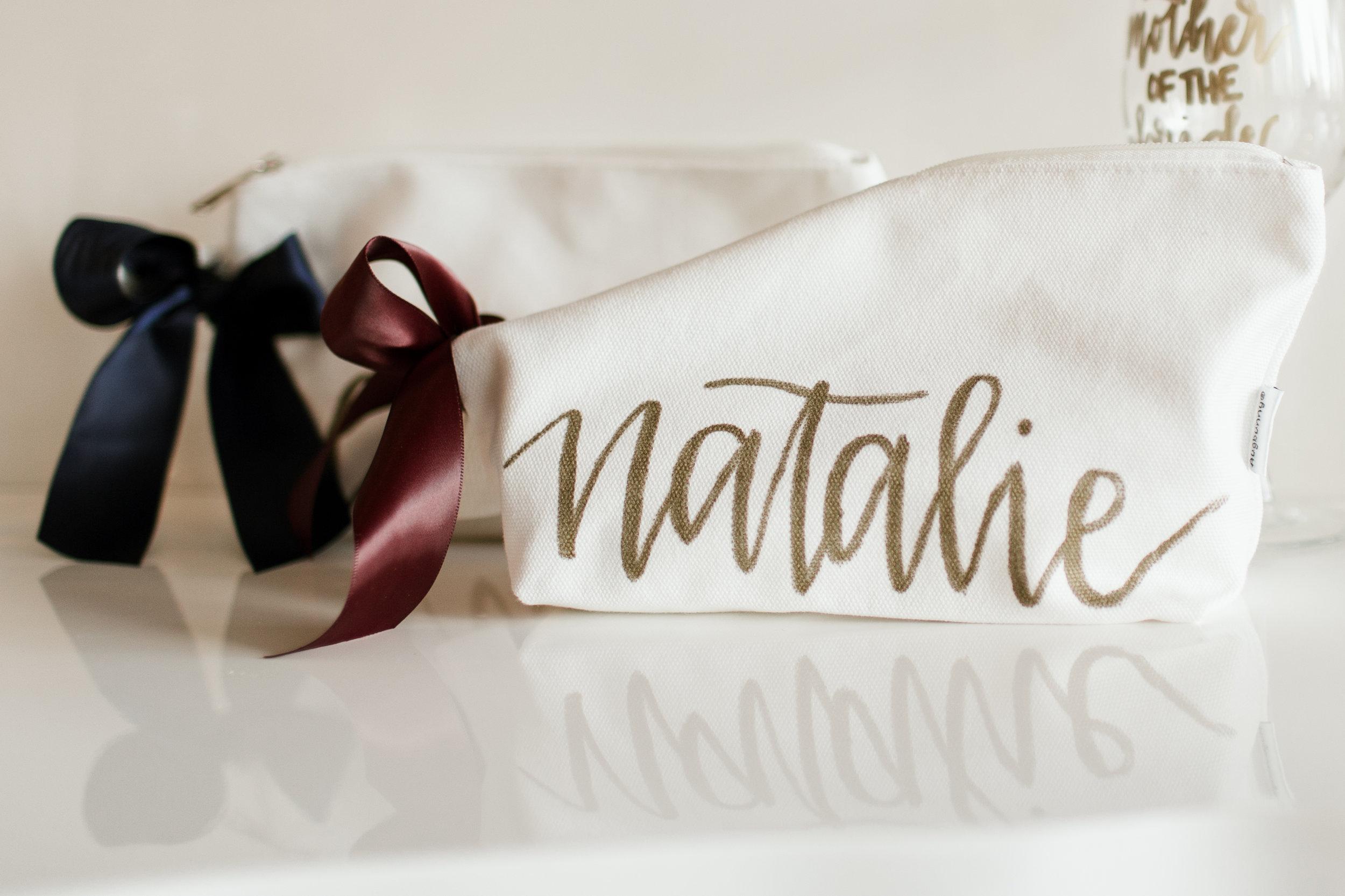 Personalized bridesmaid make up bag