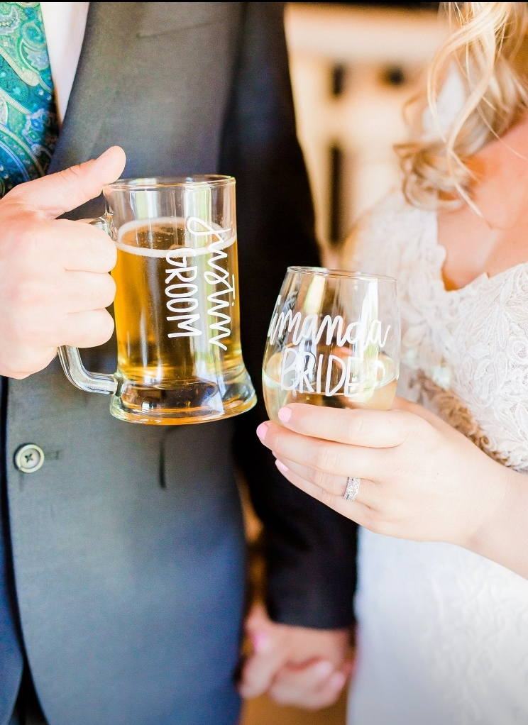 Bride and groom personalized glassware