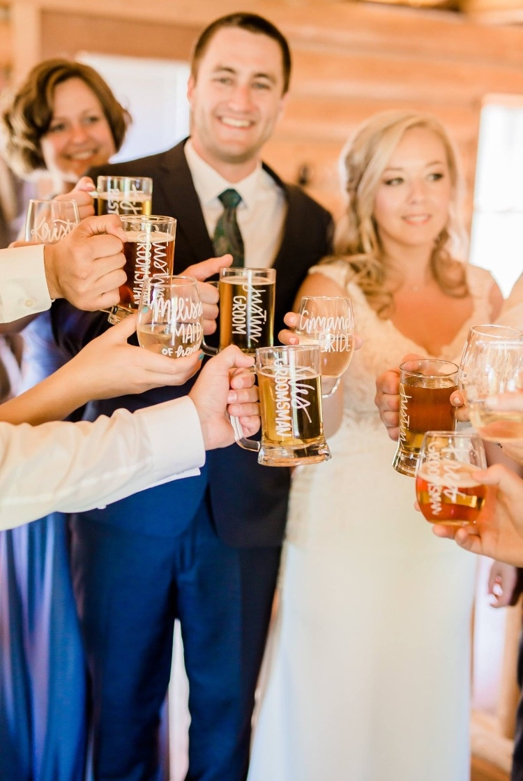 Personalized wedding party glasses