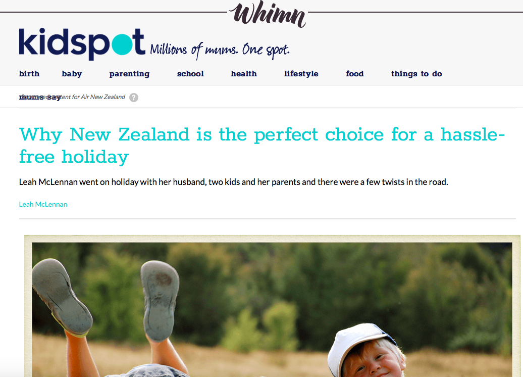 KIDSPOT, ON BEHALF OF AIR NZ.  CLICK HERE TO READ.