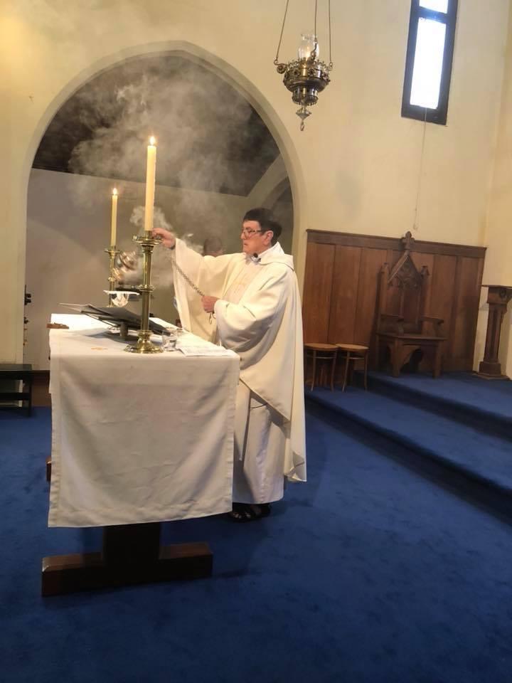 Sr Juliana celebrates Eucharist at St Mary Magdalene's.