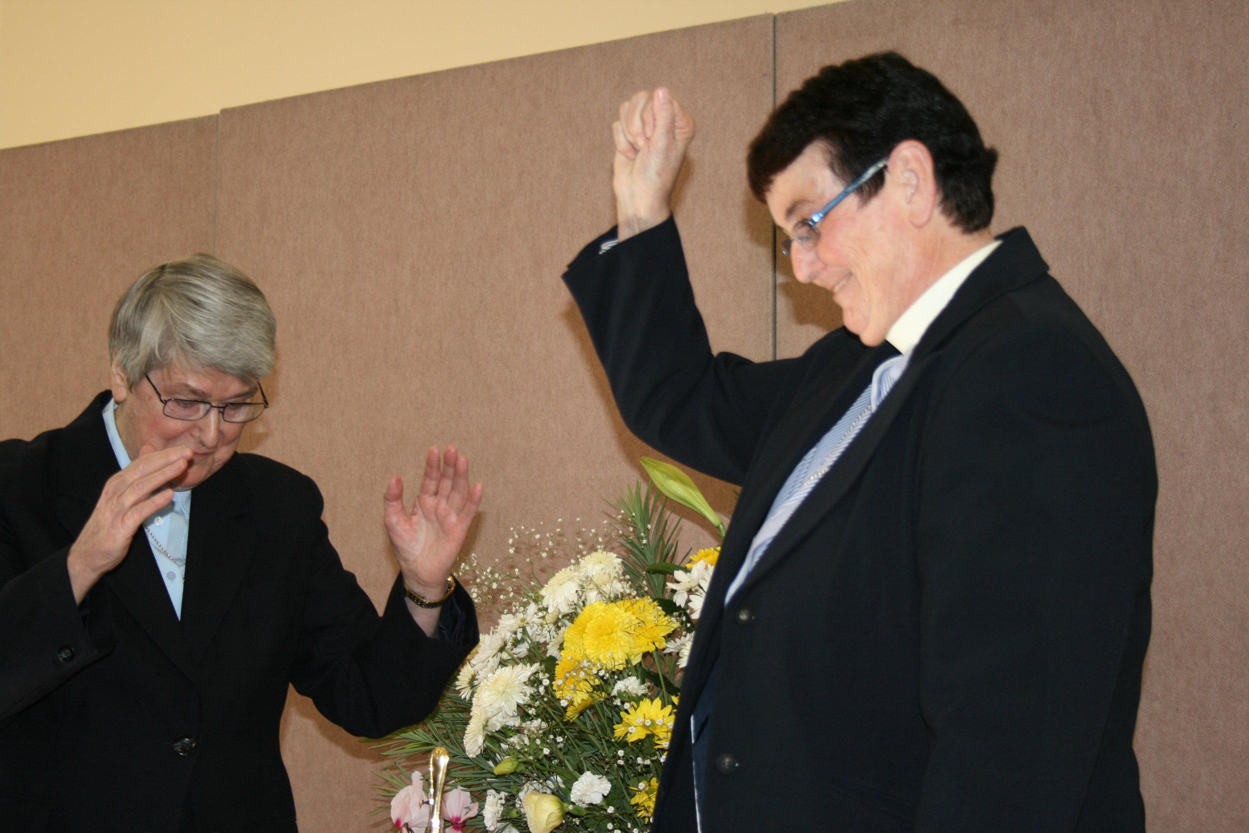 Celebrating Sr Juliana's 25th anniversary of profession .