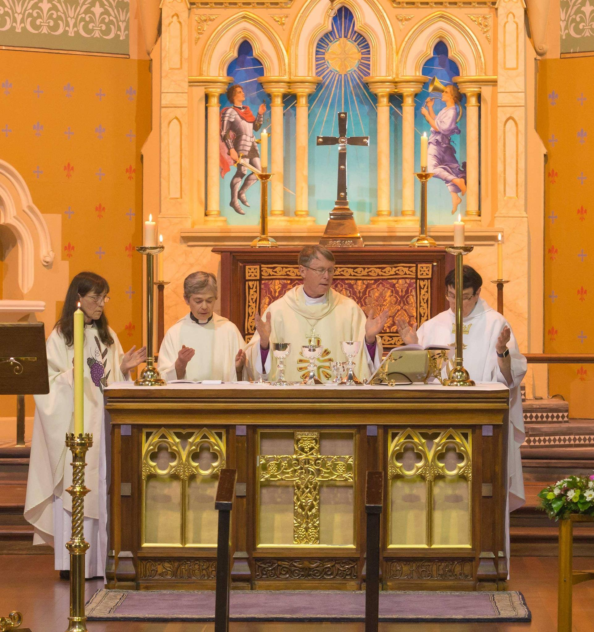 Archbishop Geoff Smith concelebrated the Eucharist with the Rev'd Joan Claring Bould, the Rev'd Susan Straub and the Rev'd Sr Juliana SI.