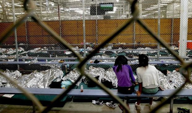 Holding cell for children at the U.S. Customs and Border Protection Placement Center in Nogales, Ariz. Photo via Ross D. Franklin (AP)