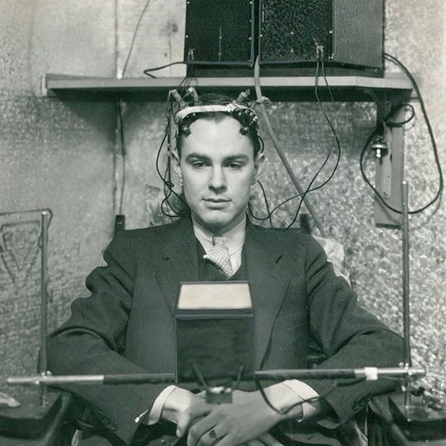 "Biohacking is not a new phenomena. @nytarchives No, this isn't a torture scene or a ""Frankenstein"" outtake. This man, photographed in 1934, is participating in the development of a ""brain meter."" By attaching electrodes to the subject's head and connecting them to their device, Dr. Herbert H. Jasper and Dr. Leonard Carmichael were able to dial in on ""mental upsets,"" #nytimes reported, and track the ""action currents,"" or electrical impulses, in the brain. This test is better known today as an electroencephalogram, or EEG. Jasper and Carmichael's machine ""seems to be on the trail of the origin of thought,"" The Times reported. Today, EEGs are used to study everything from epilepsy to swallowing. Photo Credit: The New York Times. #nytarchives . . #biohacking #science #knowledge #changingyourenvironment #knowlegeispower #bulletproof"