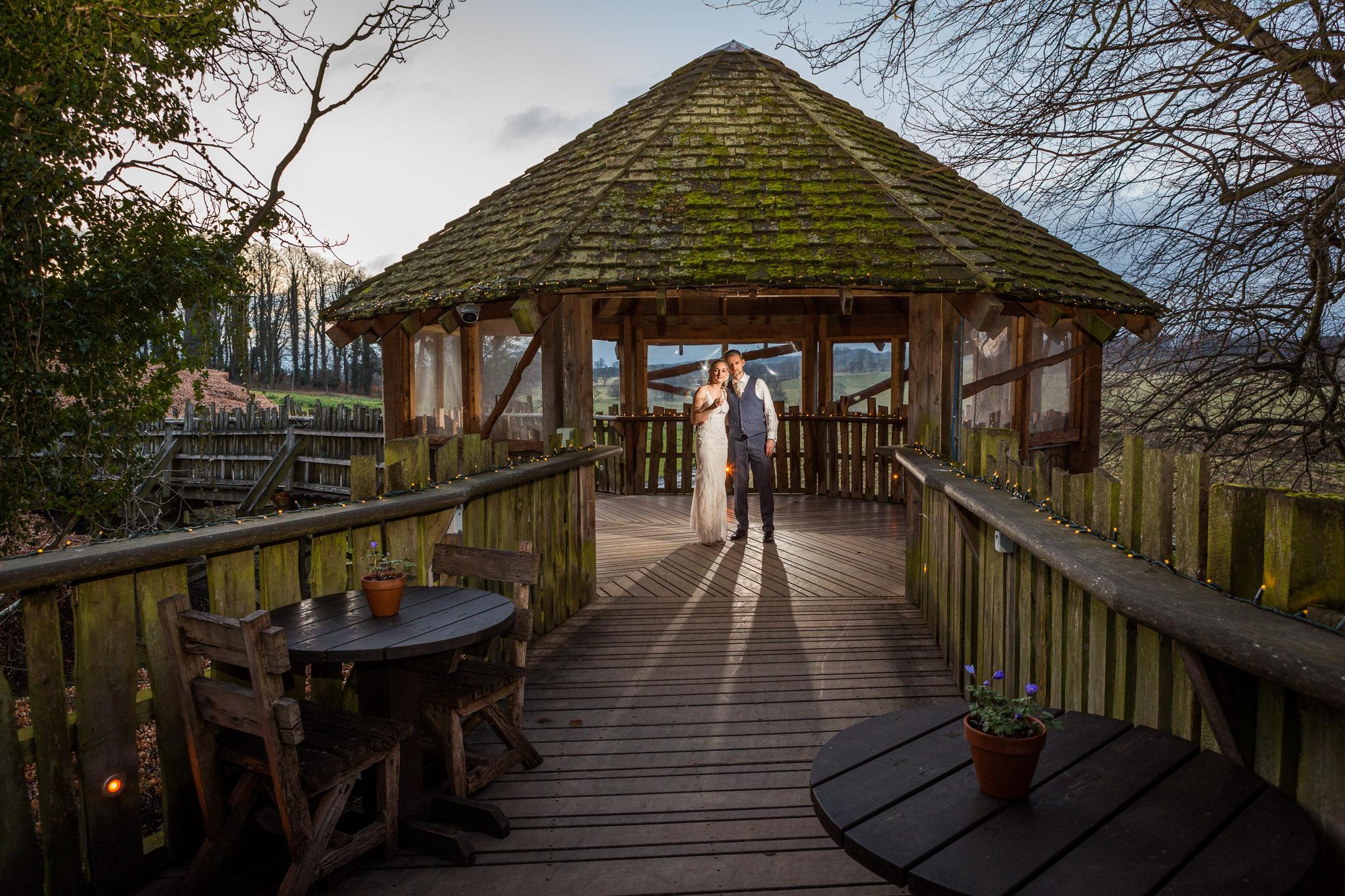 evening alnwick treehouse wedding
