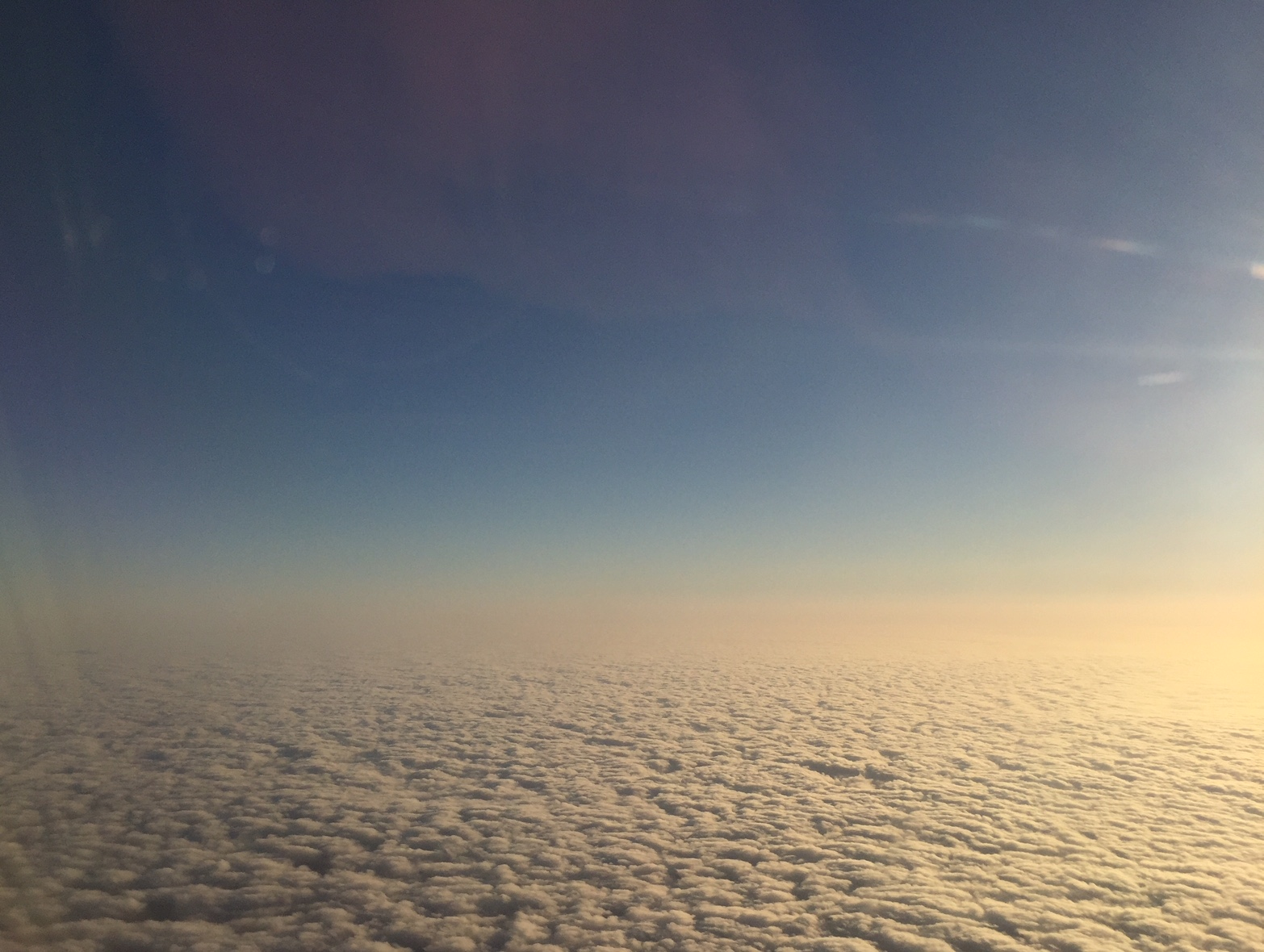 Marine layer looking west over the ocean as we began the turnaround to go east.  (c) J. Sarrow 2018