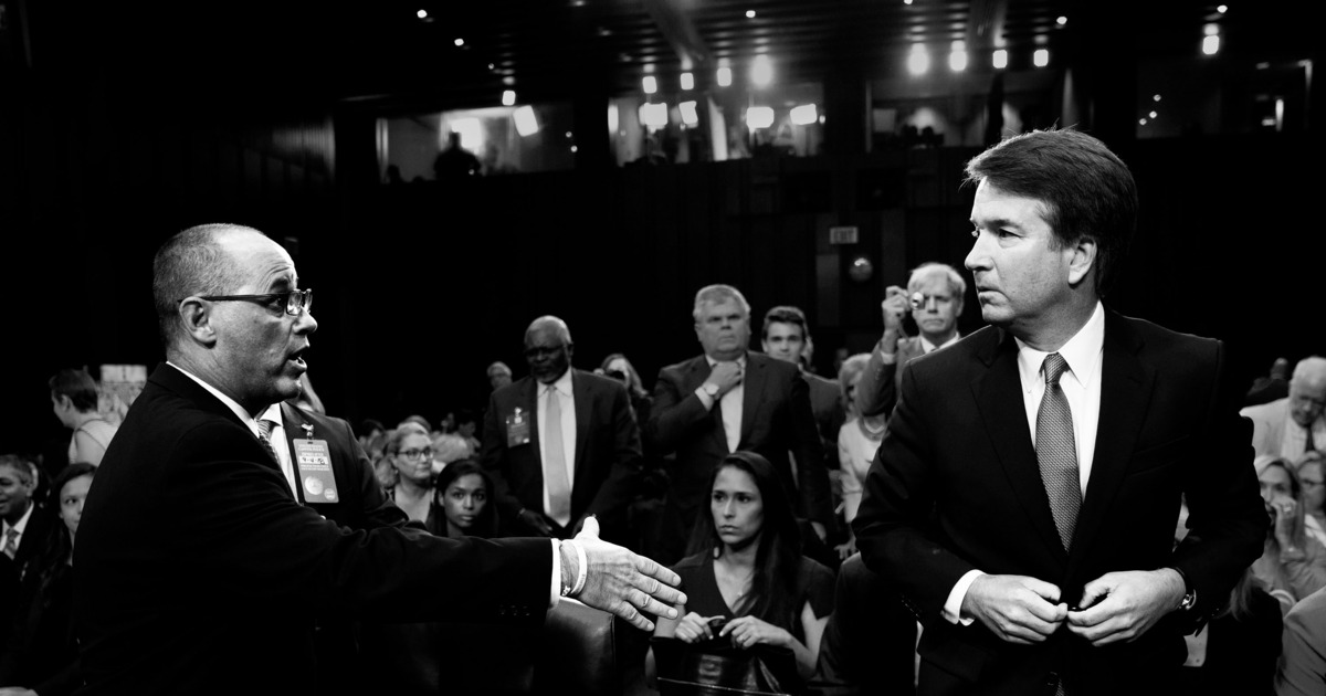 Fred Guttenberg and Brett Kavanaugh. Photo: Andrew Harnik/AP