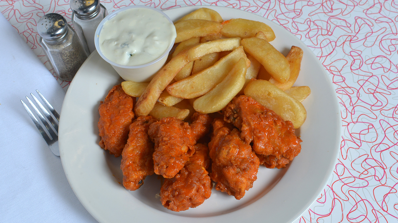 Happy Times Cafe Buffalo Chicken Wings with Fries.jpg