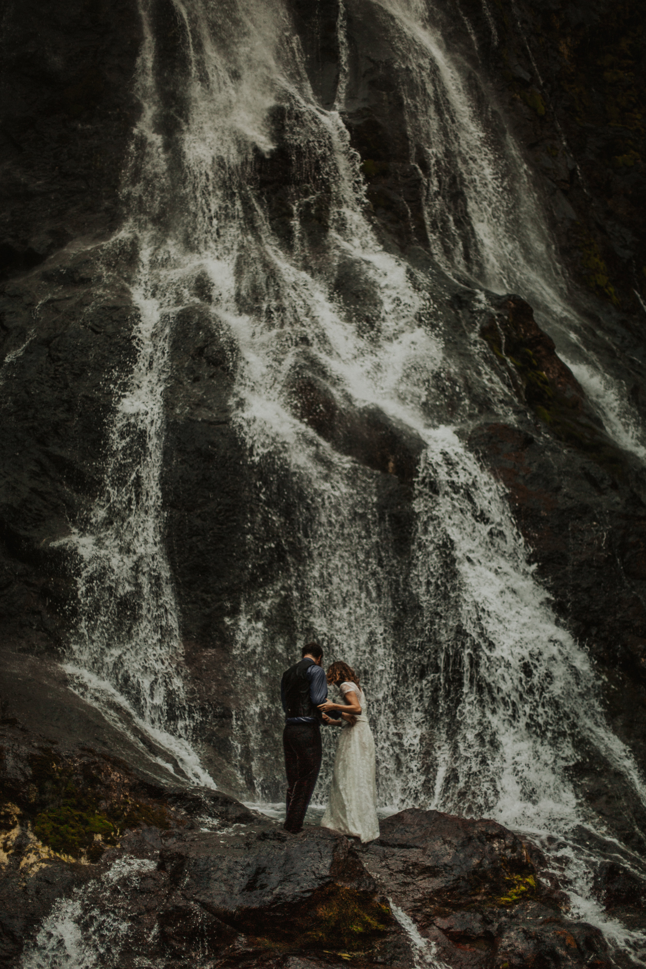 Bride and Groom Waterfall Portraits in Washington State | Rosemary & Pine Photography