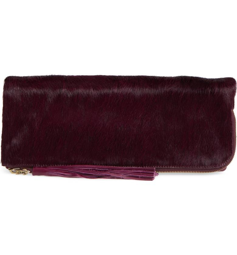 Hobo Raine Leather & Genuine Calf Hair Clutch. Nordstrom. $208.