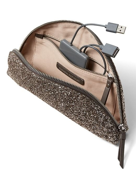 Phone-Charging Glitter Half-Moon Pouch. Banana Republic. $88.
