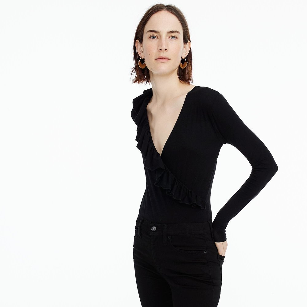 Ruffle-front wrap bodysuit. Available in three colors. J.Crew. Was: $49. Now: $32.