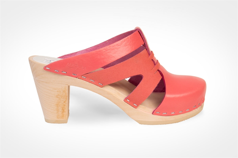 I've been a huge fan of Magubas for the past few years. They are totally customizable- believe it- at a great price.  Clog in mix of coral pink leather & suede. Maguba. $149.