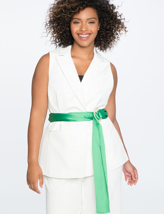 Plus Size Sleeveless Jacket with Contrast Belt. Eloquii. $119.