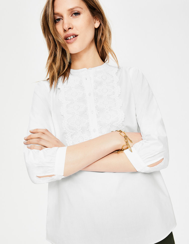 LILIANA SHIRT. (White lace on a white top!) Available in two colors. Boden. $98.