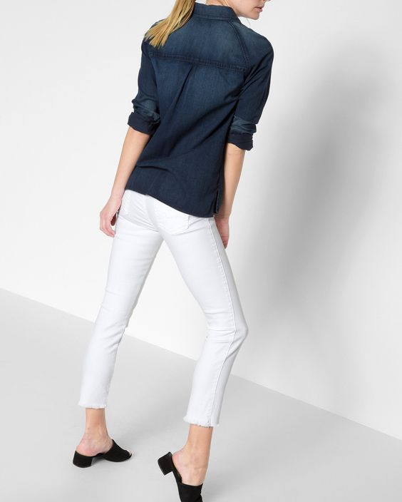 7 For All Mankind Roxanne Ankle with Raw Hem in White Fashion. 7 For All Mankind. Was: $169. Now: $99.