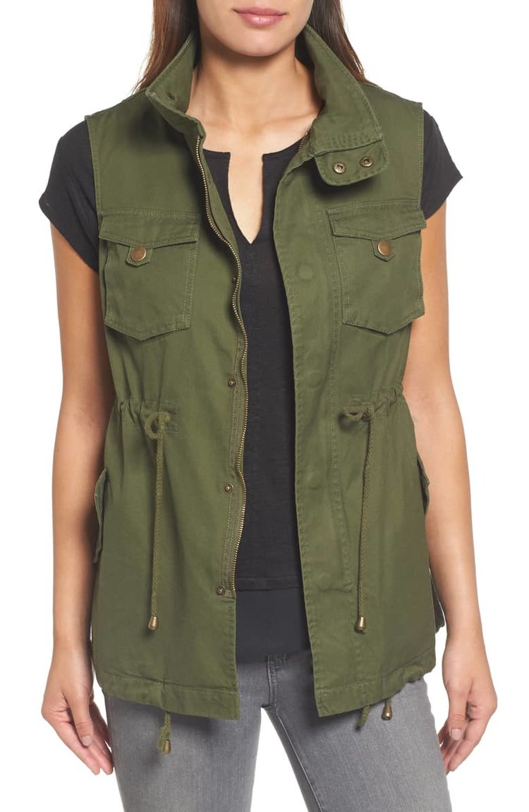 Cotton Twill Military Vest. Regular and Petite. Nordstrom. $88.