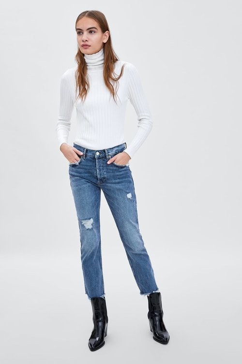 SLOUCHY MID-RISE SLIM JEANS. Zara. $49.